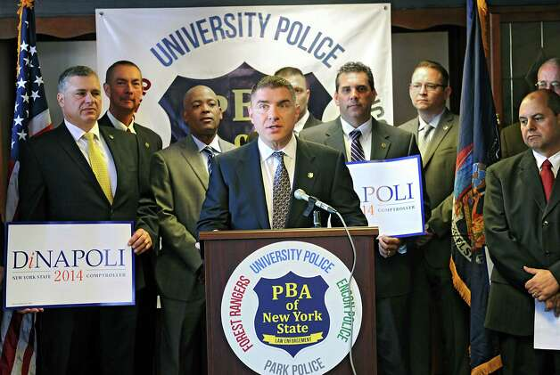 State Police spokesman Dan Defedericis speaks as the Police Benevolent Association endorses State Comptroller Tom DiNapoli Monday, Sept. 15, 2014, during a news conference in Albany, N.Y. The PBA of NYS represents New York State University (SUNY) Police, the New York State Environmental Conservation Police, the New York State Park Police, and the New York State Forest Rangers. (Lori Van Buren / Times Union) Photo: Lori Van Buren / 00028629A