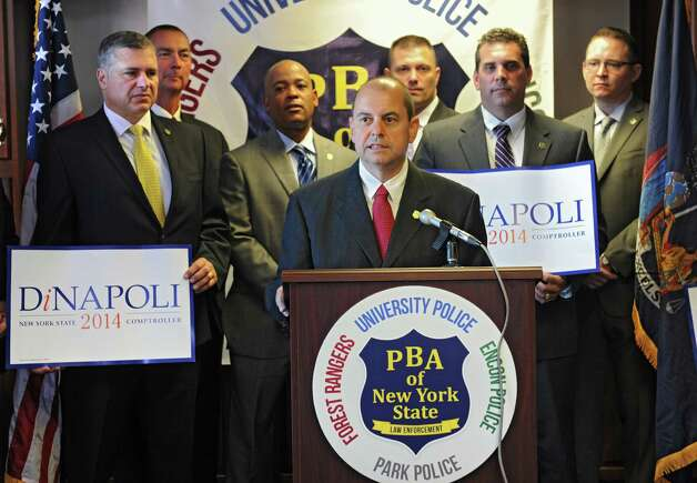 Police Benevolent Association of New York State President Manuel Vilar speaks as the PBA endorses State Comptroller Tom DiNapoli Monday, Sept. 15, 2014, during a news conference in Albany, N.Y. The PBA of NYS represents New York State University (SUNY) Police, the New York State Environmental Conservation Police, the New York State Park Police, and the New York State Forest Rangers. (Lori Van Buren / Times Union) Photo: Lori Van Buren / 00028629A