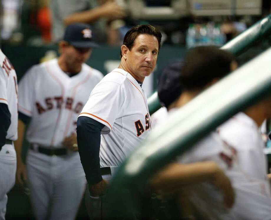 Triple A Oklahoma City Manager Tony DeFrancesco in the dugout in the sixth inning of an MLB baseball game at Minute Maid Park, Monday, Sept. 15, 2014, in Houston. Photo: Karen Warren, Houston Chronicle / © 2014 Houston Chronicle