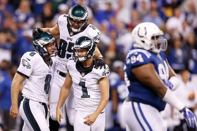 INDIANAPOLIS, IN - SEPTEMBER 15: Cody Parkey #1 of the Philadelphia Eagles celebrates with teammates after kicking the game-winning 36-yard field goal as time expires in the game against the Indianapolis Colts at Lucas Oil Stadium on September 15, 2014 in Indianapolis, Indiana. The Eagles won the game 30-27. (Photo by Joe Robbins/Getty Images) ORG XMIT: 504259723 Photo: Joe Robbins / 2014 Getty Images