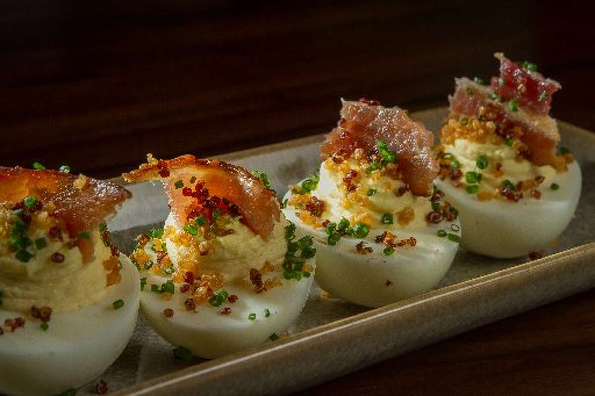 Fog City: The filling is given texture with whole-grain mustard, and is topped with crispy quinoa and bacon.