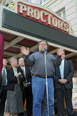 Proctors CEO Philip Morris talks about the newly renovated and modernized marquee at an unveiling at Proctor's on Monday, Sept. 15, 2014 in Schenectady, N.Y. (Lori Van Buren / Times Union) Photo: Lori Van Buren / 00028616A