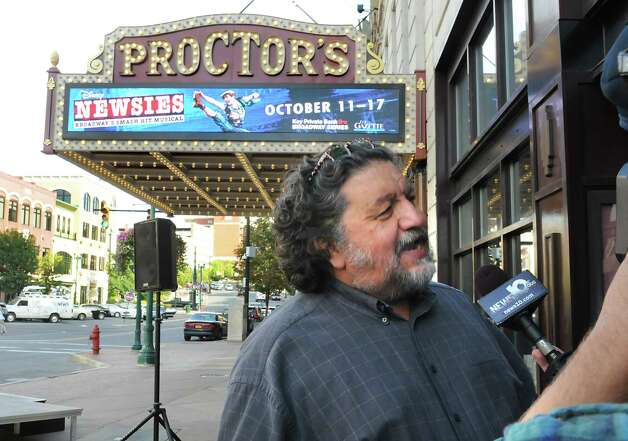 Proctors CEO Philip Morris talks about the newly renovated and modernized marquee at an unveiling at Proctors on Monday, Sept. 15, 2014 in Schenectady, N.Y. (Lori Van Buren / Times Union) Photo: Lori Van Buren / 00028616A