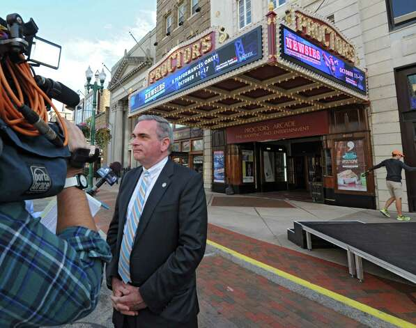 Schenectady Mayor Gary McCarthy talks about the newly renovated and modernized marquee unveiled at Proctors on Monday, Sept. 15, 2014 in Schenectady, N.Y. (Lori Van Buren / Times Union) Photo: Lori Van Buren / 00028616A
