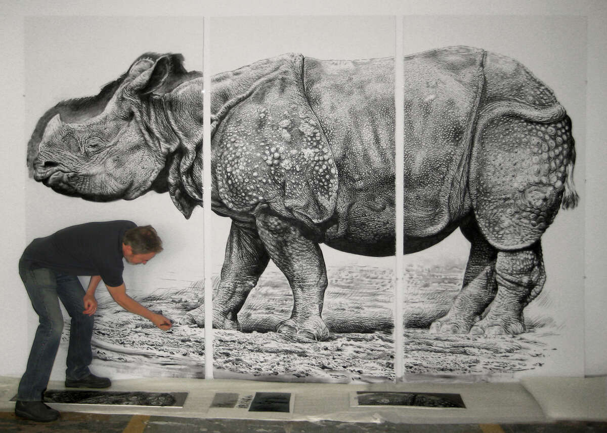 """""""Rick Shaefer: Rendering Nature"""" is on view at the Bellarmine Museum of Art, in Fairfield, through Dec. 19. The collection includes dramatic paintings of clouds and life-size charcoal drawings of bison, rhinoceros and crows."""