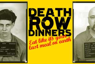 Based in London, the pop-up restaurant event was to feature the last meals eaten by Death Row inmates, the Telegraph reports. A promotional photo for the event featured those inmates with their menus hanging around their necks.