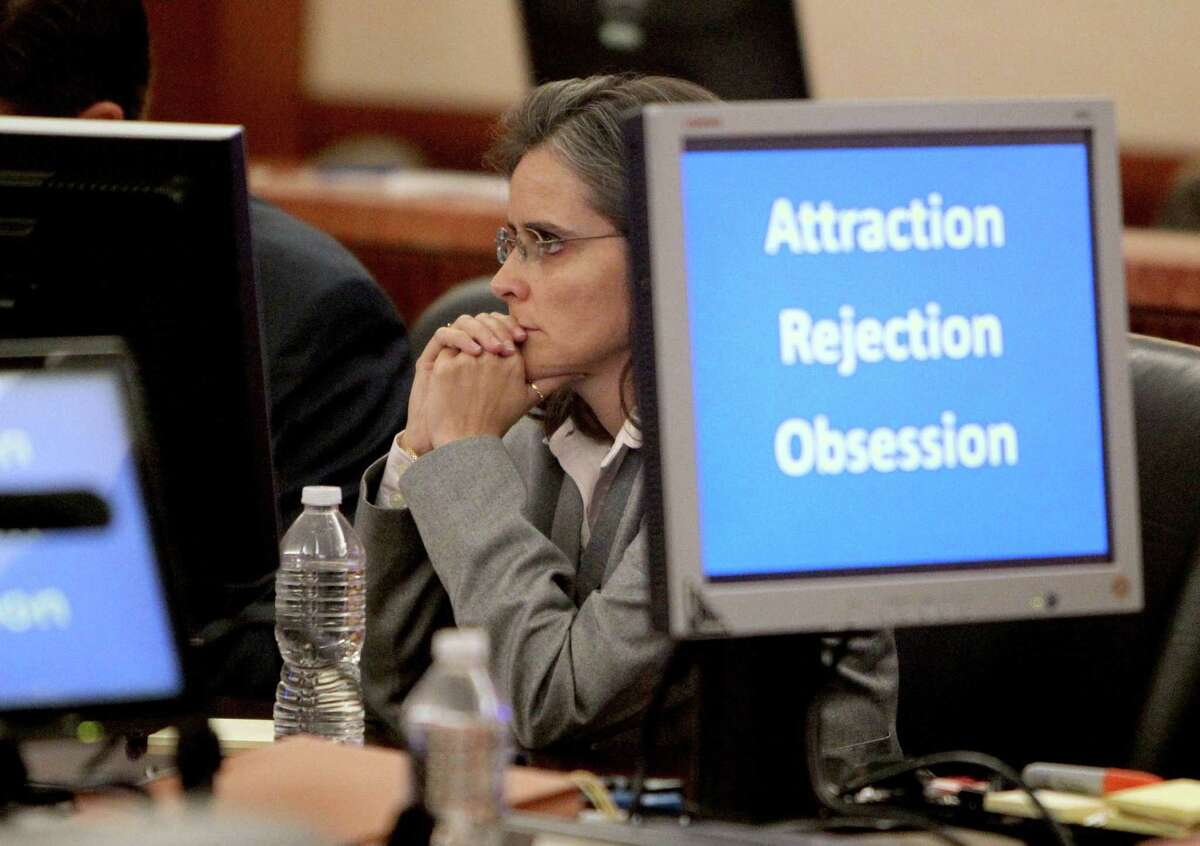Dr. Ana Maria Gonzalez-Angulo at the first day of her trial on a felony charge of aggravated assault, in the 248th District Court at the Harris County Criminal Justice Center Monday, Sept. 15, 2014, in Houston, Texas. Dr. Gonzalez-Angulo was charged in May 2013 with poisoning Dr. George Blumenschein. Judge Katherine Cabaniss is presiding over the case.