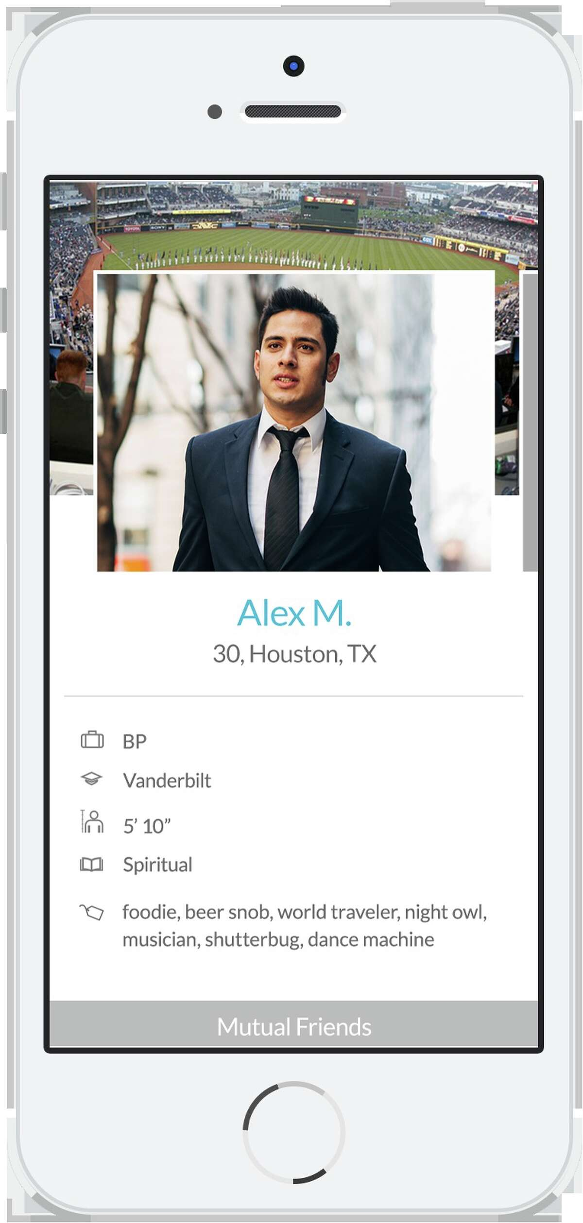 Hinge lets users see how many mutual Facebook friends they have.