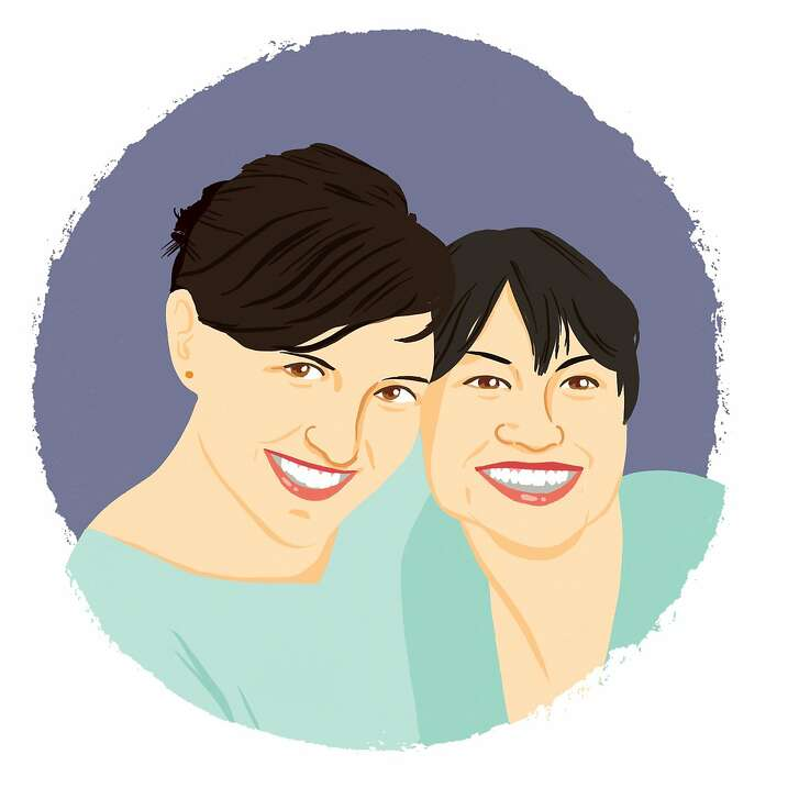 Illustrated portrait of Eunice and Sabrina Moyle