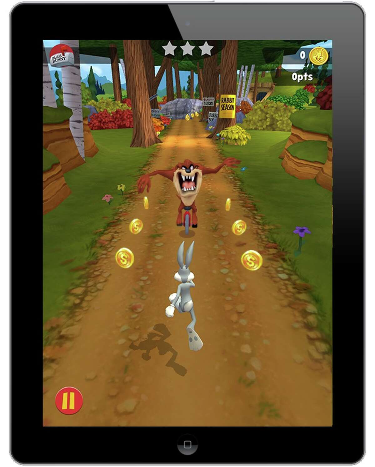 """Zynga has licensed Bugs Bunny, Tweety Bird, Road Runnder and other Looney Tunes cartoon characters from Warner Bros. to develop new mobile games like """"Looney Tunes Dash."""" In this screen grab, Bugs Bunny takes on the Tazmanian Devil"""