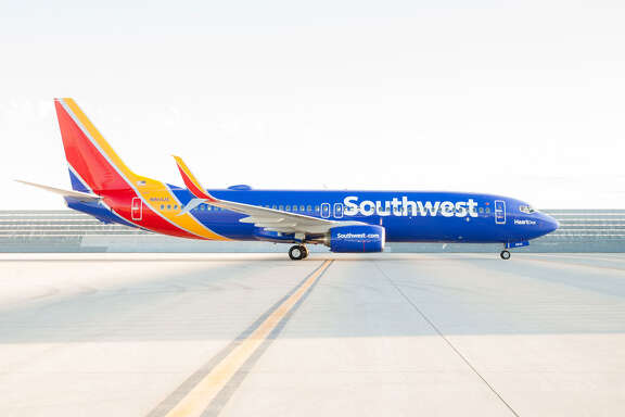 Southwest Airlines' new heart logo and livery are shown on one of its Boeing 737s. Southwest rolled out the changes on Sept. 8, 2014.