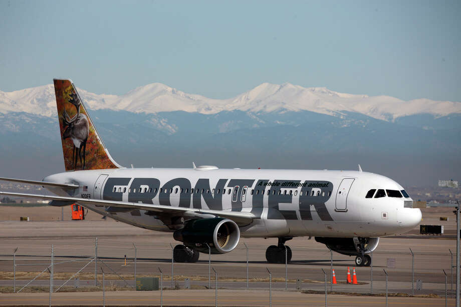 """8. Frontier AirlinesFrom the report: """"On-time performance in 2014 (74.1%) improved compared to 2013 (73.1%). Frontier's denied boarding performance (1.37 per 10,000 passengers in 2014 compared to 1.23 in 2013) was worse than last year. Their mishandled baggage rate of 1.80 per 1,000 passengers was improved from their 2013 rate of 2.15. A customer complaint rate of 3.91 complaints per 100,000 passengers for 2014 was higher than their 2013 rate of 3.09. Frontier's 2014 AQR score of -1.48 compared to -1.35 for 2013 was the result of a mixed bag of gains and losses in performance for the year."""" Photo: David Zalubowski, AP / AP"""