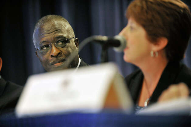 Robert Jones, right, President of State University of New York, looks on as Albany Mayor Kathy Sheehan presents information to the selection panel for the New York State Economic Development grants at the Empire State Plaza Convention Center on Tuesday, Sept. 16, 2014, in Albany, N.Y.     (Paul Buckowski / Times Union) Photo: Paul Buckowski, Albany Times Union / 10028650A