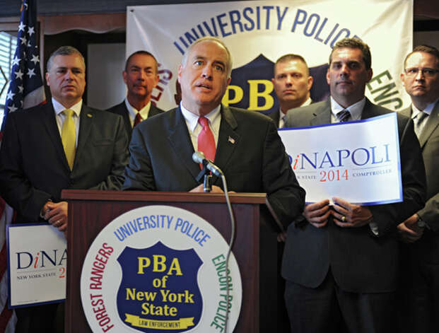 State Comptroller Tom DiNapoli speaks as the Police Benevolent Association endorses him at a news conference on Monday, Sept. 15, 2014 in Albany, N.Y. The PBA of NYS represents New York State University (SUNY) Police, the New York State Environmental Conservation Police, the New York State Park Police, and the New York State Forest Rangers. (Lori Van Buren / Times Union) Photo: Lori Van Buren, Albany Times Union / 00028629A