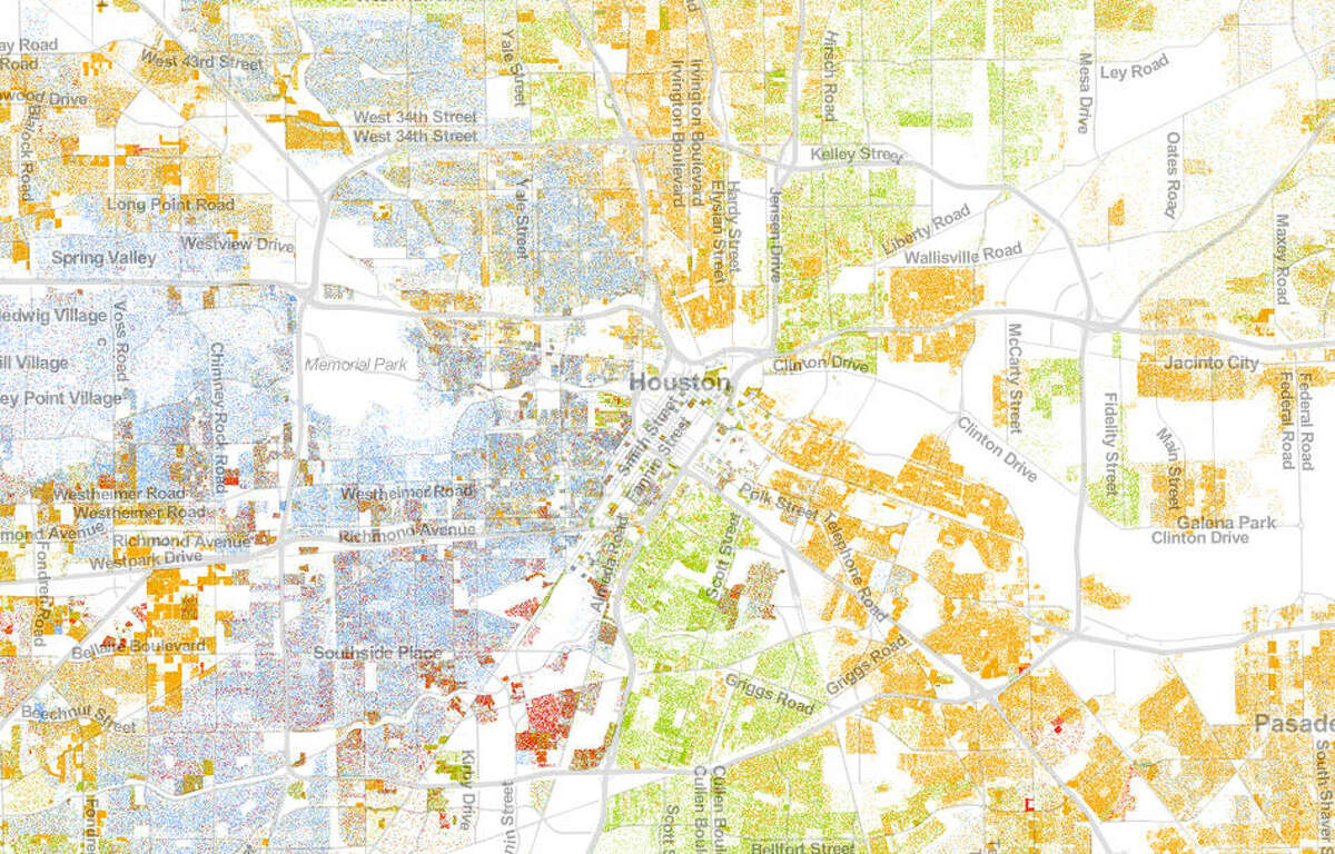 Inner Loop Houston is still in many ways segregated by race, according to this data.KEYBlue = whiteGreen = blackRed = AsianOrange = HispanicBrown = other/multicultural(Each dot represents one person)