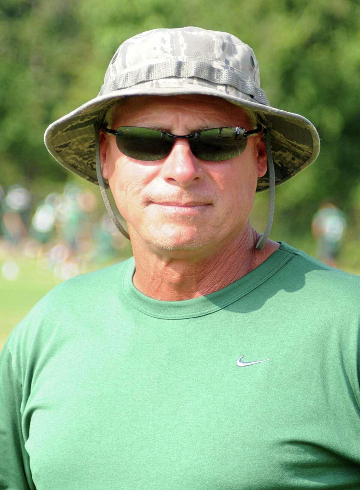 Football coach Mark Schmid during The Woodlands High School football practice. Photograph by David Hopper