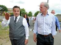 Republican gubernatorial candidate Tom Foley tours downtown Ansonia with Mayor David Cassetti Tuesday, Sept. 16, 2014. Foley stopped into local businesses along Main Street and took a tour of Farrel Corporation properties during his campaign stop in the valley.