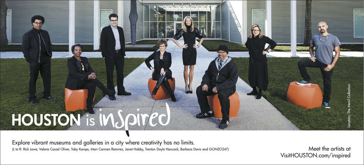 Valerie Cassel Oliver, second from left, appeared with Rick Lowe, Toby Kamps, Mari Carmen Ramirez, Janet Hobby, Trenton Doyle Hancock, Barbara Davis and Gonzo247 in a 2013 ad campaign to promote Houston's visual art scene.