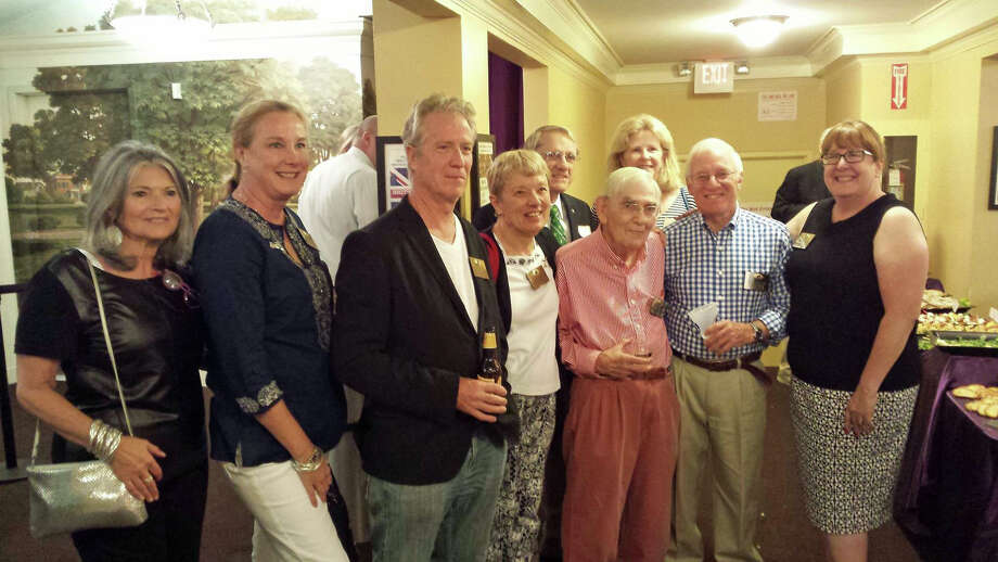 Kiwanis President BJ Flagg, far right, poses with past presidents at Kiwanis' 75th anniversary event at the Ridgefield Playhouse. From left, Jenny Esposito, Kathleen Holland, Jeremiah Miller, Eloise Killeffer, Russell Kimes, David Borglum, Stacey Hafen and Sperry DeCew. Photo: Contributed Photo, Contributed / New Canaan News Contributed