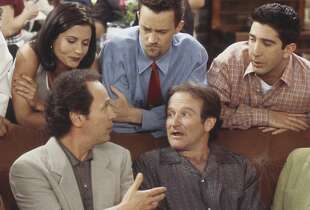 "FRIENDS -- ""The One with the Ultimate Fighting Champion"" Episode 24 -- Pictured: (front, l-r) Jennifer Aniston as Rachel Green, Billy Crystal as Tim, Robin Williams as Thomas, Lisa Kudrow as Phoebe Buffay, (back, l-r) Matt LeBlanc as Joey Tribbiani, Courteney Cox as Monica Geller, Matthew Perry as Chandler Bing, David Schwimmer as Ross Geller  (Photo by Paul Drinkwater/NBC/NBCU Photo Bank via Getty Images)"