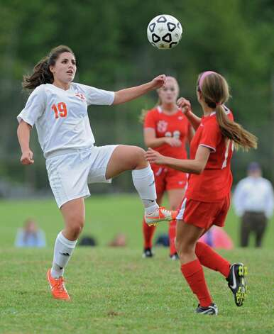 Bethlehem's (number not on roster) battles for the ball against Niskayuna's Ericka Wasserbach during a soccer game on Tuesday, Sept. 16, 2014 in Delmar, N.Y. (Lori Van Buren / Times Union) Photo: Lori Van Buren / 00028610A