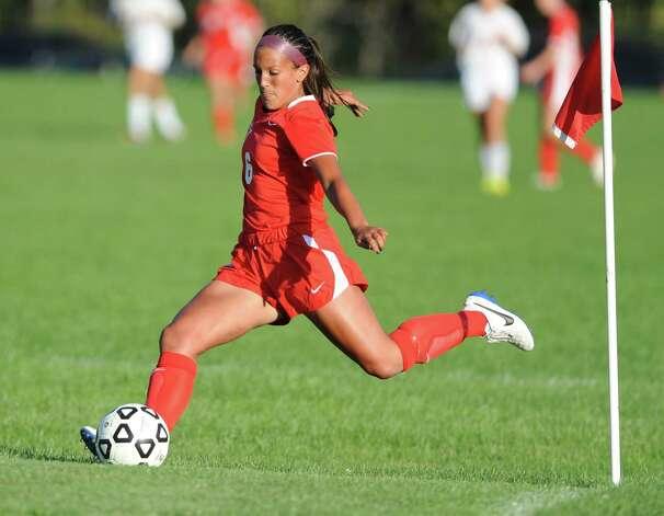 Niskayuna defender Sophia Constantine kicks a corner kick during a soccer game against Bethlehem on Tuesday, Sept. 16, 2014 in Delmar, N.Y. (Lori Van Buren / Times Union) Photo: Lori Van Buren / 00028610A