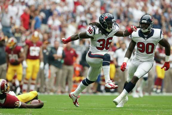 Passion, confidence and physical are three words his teammates use to describe the style of play of Texans safety D.J. Swearinger (36).
