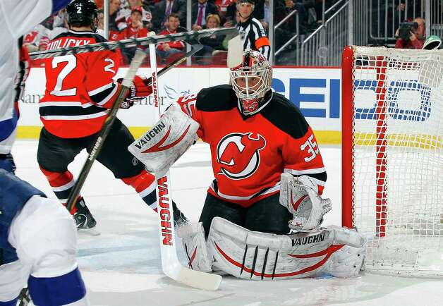 NEWARK, NJ - MARCH 05:  Keith Kinkaid #35 of the New Jersey Devils defends his net in the third period against the Tampa Bay Lightning at the Prudential Center on March 5, 2013 in Newark, New Jersey.  (Photo by Jim McIsaac/Getty Images) Photo: Jim McIsaac / 2013 Getty Images