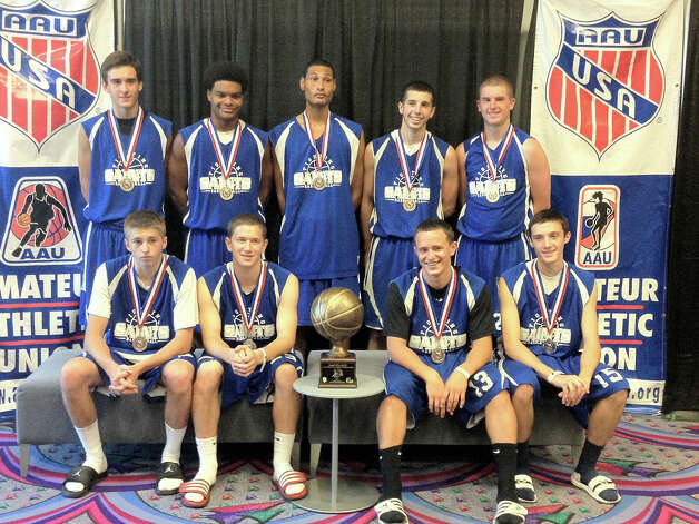 The Northeast Shooters, an under-17 AAU boys basketball team, earned second place in a Las Vegas, Nevada, tournament. Team members are, from left, Ethan Wincowski of Lake George and Casey Hall of Shaker High School, Paton Gibbs from Saugerties and Joel WincowskiA'A from Lake George a Perry DeLorenzo of  Middlebury VT., Nick Sapienza of North Warren HS, Conor Harrington of Burr and Burton Academy and  Anthony Sapienza  of North Warren and?Andrew Zibro of  Lake George.