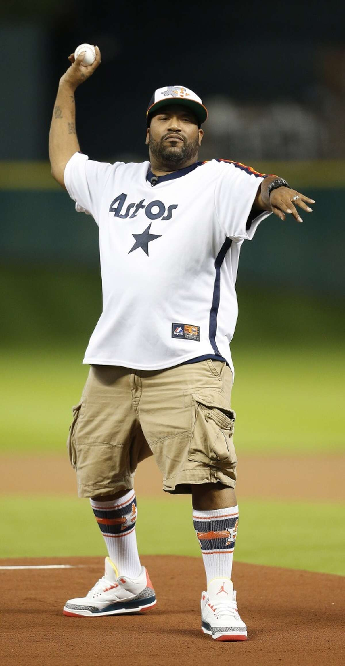 Rapper Bun B threw out the first pitch an Astros game in Sept. 2014.
