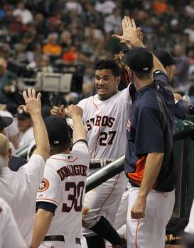 September 16: Indians 4, Astros 2  Jose Altuve recorded his 210th (to tie Craig Biggio's club record) and 211th (to break Biggio's mark) hit of the season in the losing effort against the Indians on Tuesday night.  Record: 67-84. Photo: Karen Warren, Houston Chronicle