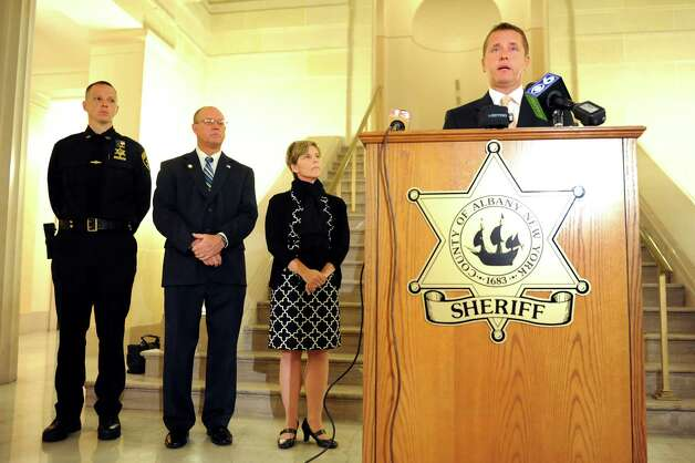 """Sheriff Craig D. Apple Sr., right, addresses emergency preparedness during a news conference on Tuesday, Sept. 16, 2014, at the Albany County Court House in Albany, N.Y. Joining him are, from left, Deputy Joe Guice, Albany County Clerk Bruce Hidley and Sue Riedy, senior public health planner with the Albany County Department of Health. This year's theme is """"Be Disaster Aware, Take Action to Prepare."""" (Cindy Schultz / Times Union) Photo: Cindy Schultz / 00028626A"""