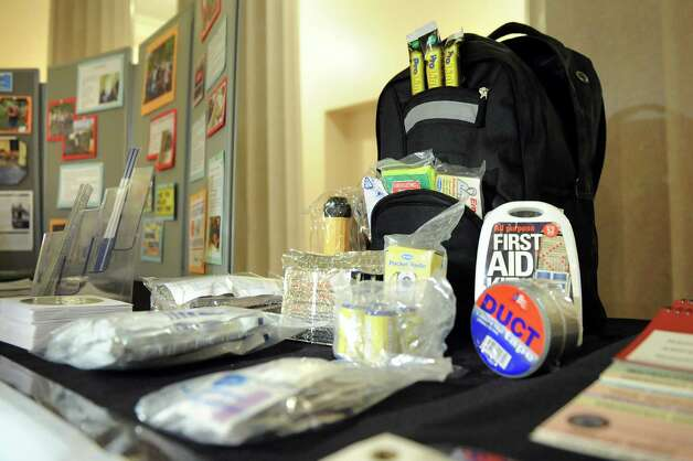 """Emergency preparedness kits and materials are on hand during a news conference on Tuesday, Sept. 16, 2014, at the Albany County Court House in Albany, N.Y. This year's theme is """"Be Disaster Aware, Take Action to Prepare."""" (Cindy Schultz / Times Union) Photo: Cindy Schultz / 00028626A"""