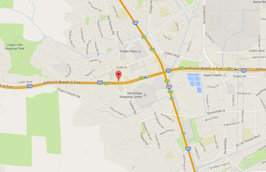 Two people died when their car lost control and crashed off Interstate 580 in Pleasanton near the San Ramon Road exit. Photo: Google Maps