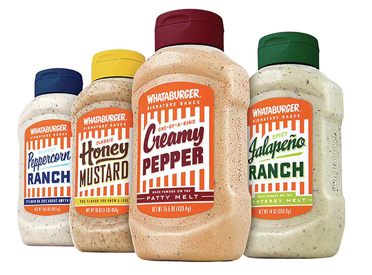 Whataburger Peppercorn Ranch, Honey Mustard, Creamy Pepper and Jalapeno Ranch Sauce All are available in H-E-B stores statewide.