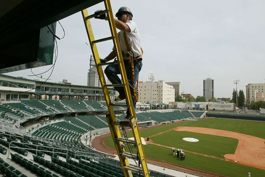 FILE PHOTO: Chukchansi Park in Fresno shortly before it opened in 2002. A man died there after a taco eating contest Tuesday night. Photo: Lance Iversen, SFC