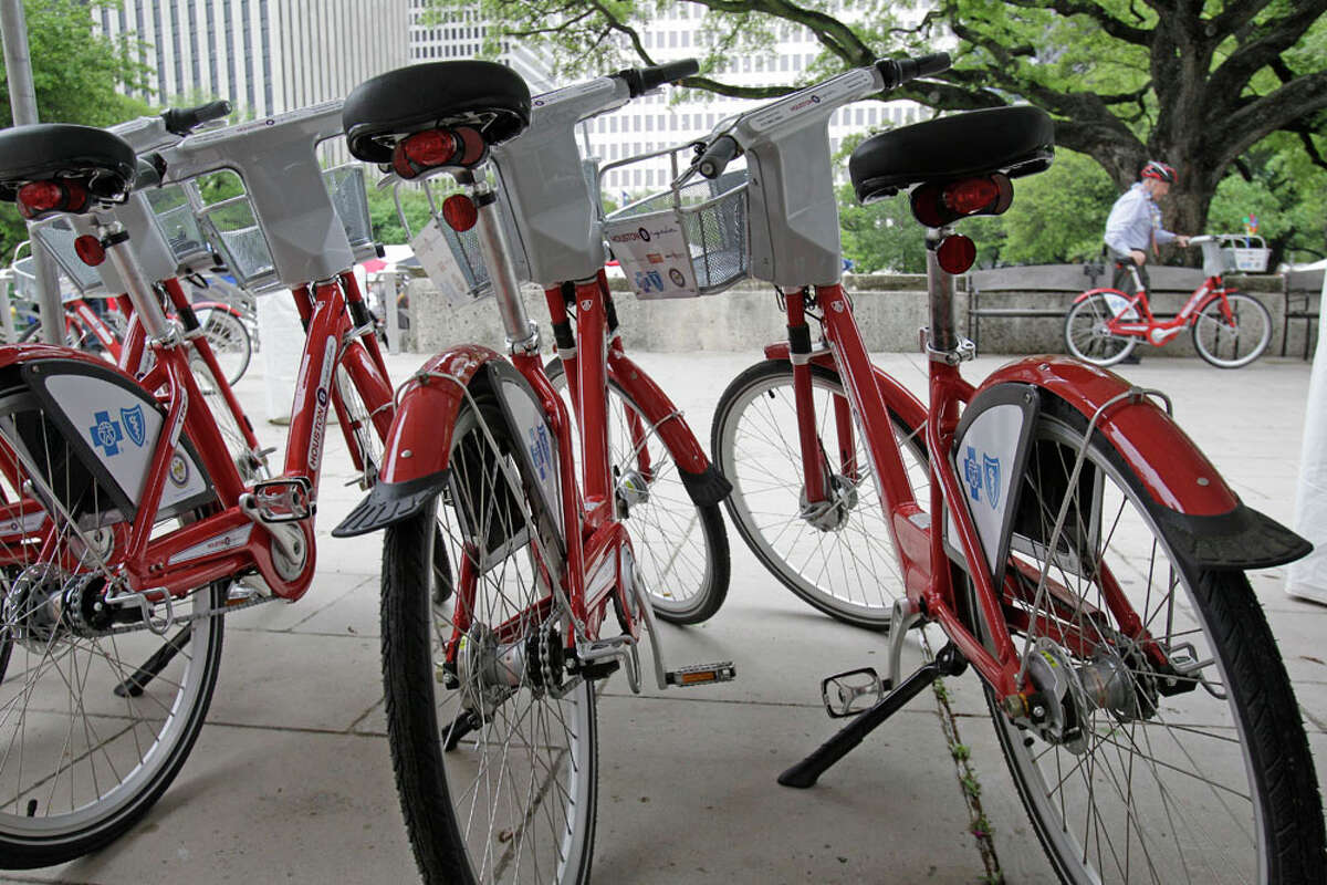 B-Cycle bikes lined up outside City Hall on Aug. 2, 2013.