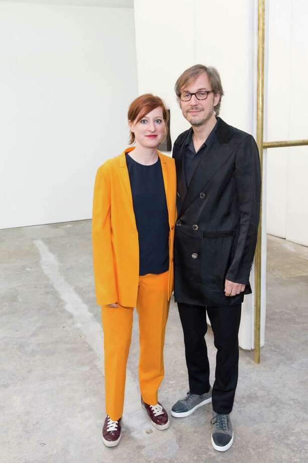 Ginger Dellenbaugh and Markus Schinwald during the opening presentation of the Markus Schinwald exhibition at the CCA Wattis Institute for Contemporary Arts on September 9, 2014. Photo: Drew Altizer, Drew Altizer Photography / DREW ALTIZER PHOTOGRAPHY