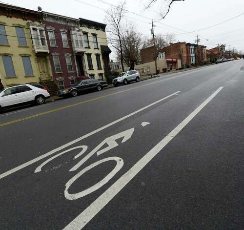 Bike lane on Clinton Avenue in Albany, N.Y. Dec 17, 2012.  (Skip Dickstein/Times Union) Photo: Skip Dickstein