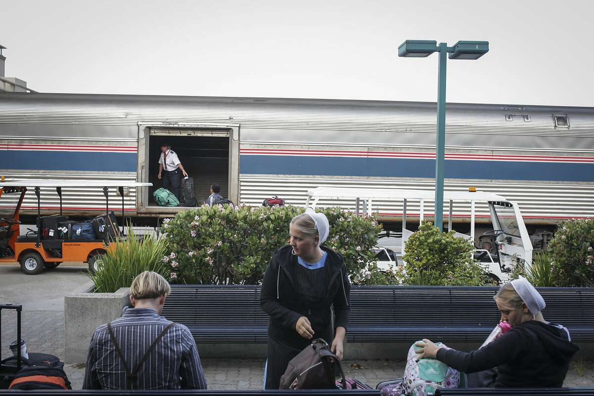 Pasengers prepare to board a train at the Emeryville train station on September 17th 2014.