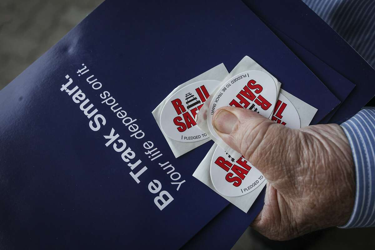 Rail safety stickers at an event held to raise awareness about rail safety at the Emeryville train station on September 17th 2014.