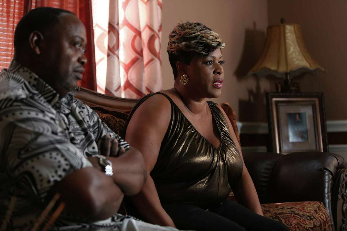 Bonita Jackson, mother of Minnesota Vikings running back Adrian Peterson, talks about her son the day after he placed on the Commissioner's exempt list on Tuesday, Sept. 16, 2014, in Houston.