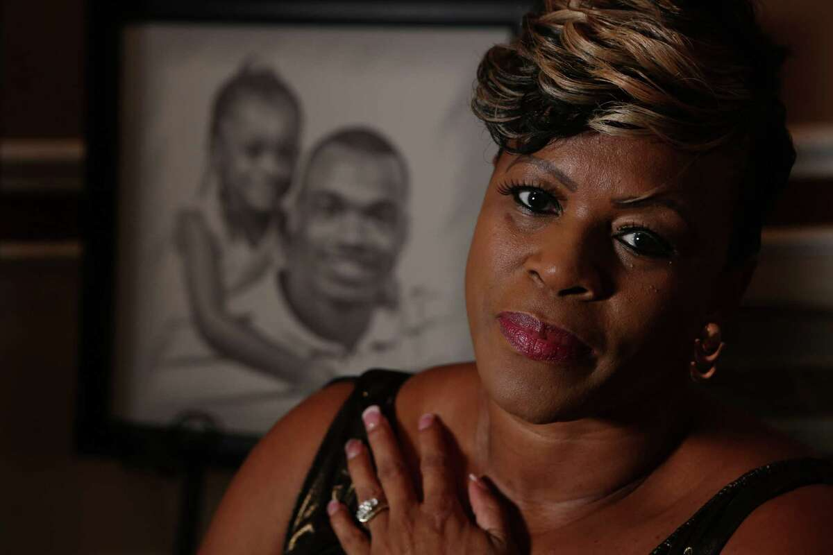 Bonita Jackson, mother of Minnesota Vikings running back Adrian Peterson, talks about her son on the day he was placed on the Commissioner's exempt list on Tuesday, Sept. 16, 2014, in Houston.