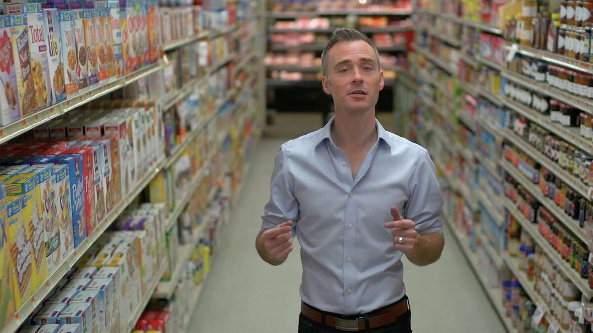 """Bethel filmmaker Lathe Poland, seen here in a supermarket cereal aisle, will be at a Q&A following the premiere of his documentary """"Carb-Loaded: A Culture Dying to Eat"""" in Ridgefield, Saturday, Sept. 27. Poland was inspired to make the film after he was diagnosed with diabetes.The disease is on the rise, he said, and we are all affected in one way or another, but there are changes we can make to turn the tide."""