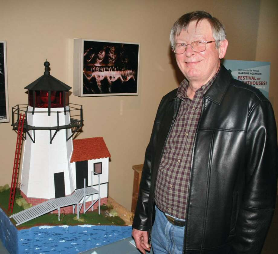 George Fisher of New Fairfield with the model lighthouse that he built. Photo: Contributed Photo / The News-Times Contributed