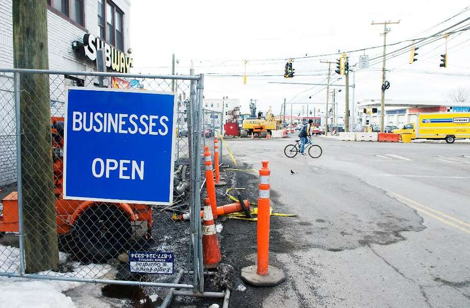 Construction along Myrtle Avenue where the city may take several buildings in an eminent domain case in Stamford, Conn. on Friday, Feb. 19,  2010. Photo: Kathleen O'Rourke / Stamford Advocate