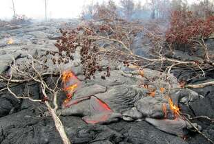 The June 27th lava flow, which is continuing its advance toward Pāhoa, is considered a pāhoehoe flow, which produces the smoother, rope-y hardened lava. It consists of many small, scattered, slow-moving lobes burning vegetation.