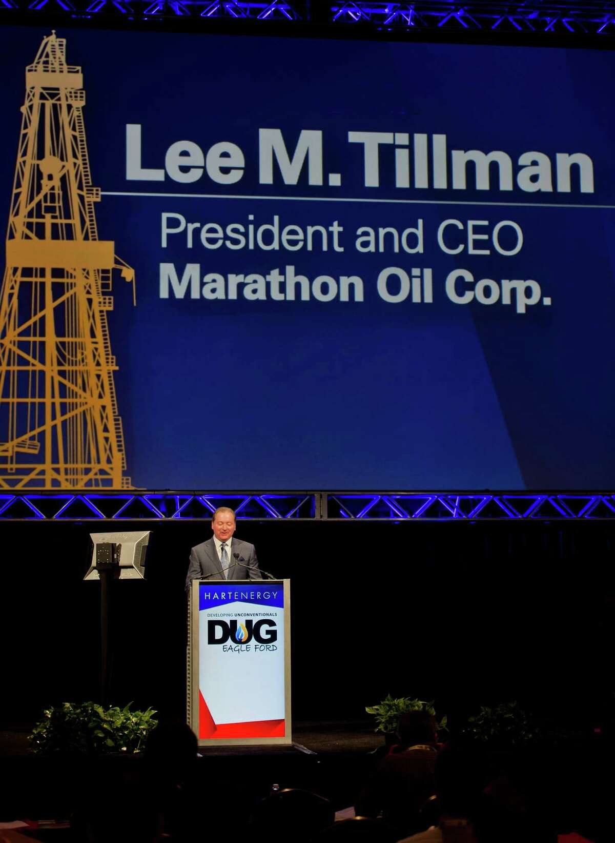 Lee M. Tillman, president and chief executive officer of Marathon Oil Corp., speaks during the Hart Energy DUG Eagle Ford Shale conference in San Antonio, Texas, U.S., on Tuesday, Sept. 16, 2014. (Photographer: Eddie Seal/Bloomberg)