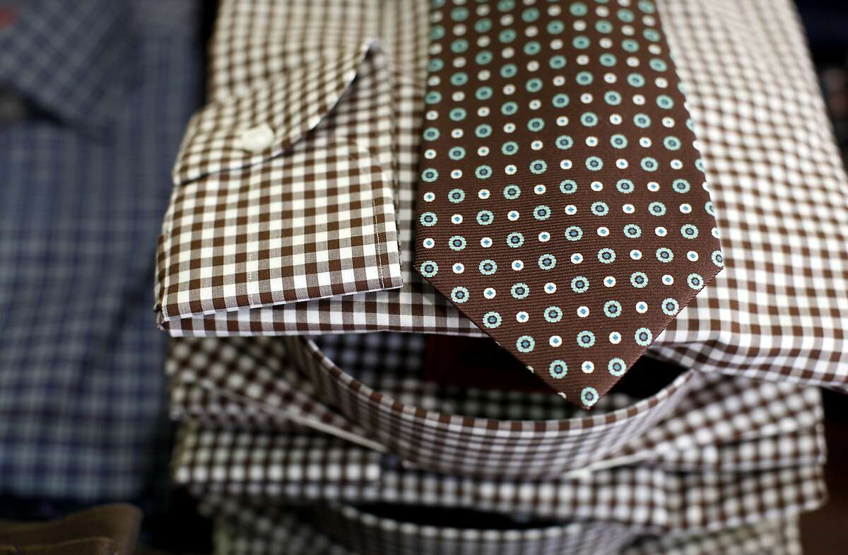 Isaia cotton shirts with a Kiton tie at Sam Malouf in Burlingame, Calif., on Wednesday, September 10, 2014.