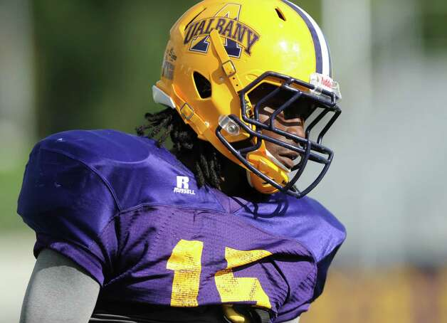 UAlbany safety Rayshan Clark during football practice on Wednesday, Sept. 17, 2014 in Albany, N.Y. (Lori Van Buren / Times Union) Photo: Lori Van Buren / 10028658A